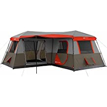 Ozark Trail 16x16-Feet 12-Person 3 Room Instant Cabin Tent with Pre-Attached Poles, Red by Ozark Trail