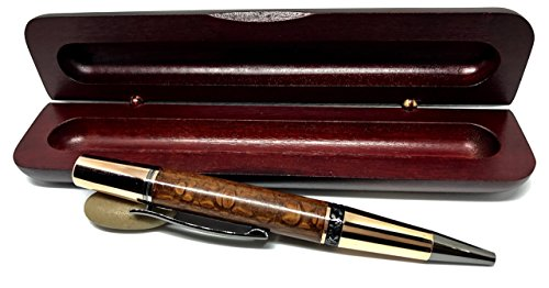 Bendecidos Pens - Leopard Wood Ballpoint Pen - Rose Gold & Black Titanium Metal   Handmade Gifts for Wedding, Anniversary & Birthday Graduation Gifts