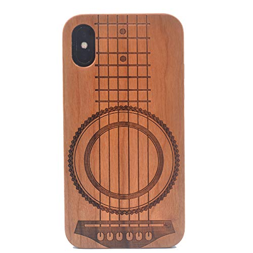 iPhone Xs Wood Case, Guitar Music Theme Handmade Carving Real Wood Case Wooden Case Cover with Soft TPU Back for iPhone X (2017) iPhone Xs (2018)