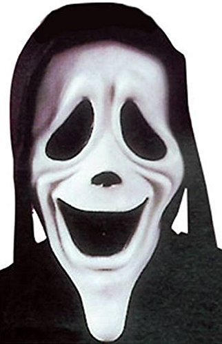 Mens Smiley Scary Movie Mask Film Halloween Scream Horror Fancy Dress Costume Accessory (One Size) Black -
