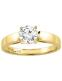 14K Yellow Gold Cubic Zirconia Solitaire Engagement Ring 1.25 ct, sizes 5-10