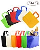 "BcPowr 36 PCS 8""×10""(20×25cm) Non-Woven Gift Bag,Party Gift Tote Bags,6 Colors,Non-Woven Material,Assorted Colorful Blank Canvas Bags,Rainbow Colors with Handles for Birthday Favors,Delivery Bag"