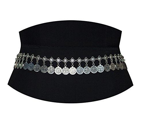 Price comparison product image Geerier Silver Coin Belly Chain Jewelry Dancing Tassel Waist Chain Belt Gypsy Bohemian Hippie Shimmy