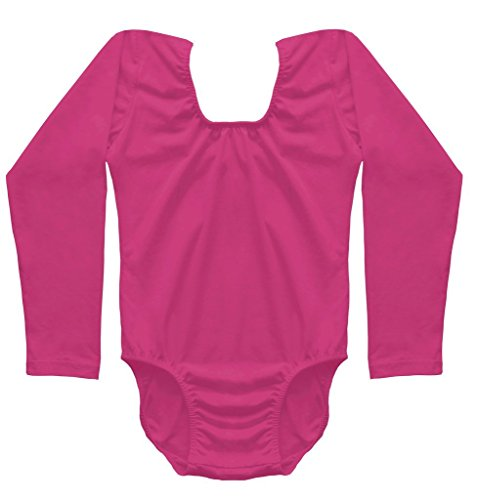 [Dancina Leotard Classic Long Sleeve Future Ballerina First Ballet Class Gift Costume 4 Hot Pink] (Aerobics Costume Designs)