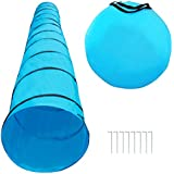 """Houseables Dog Tunnel, Agility Equipment, 18 Ft Long, 24"""" Open, Blue, Polyester, Play Tunnels for Training Small & Medium Dogs, Park Playground Toy, Large Obstacle Course for Pets, With Carrying Case"""
