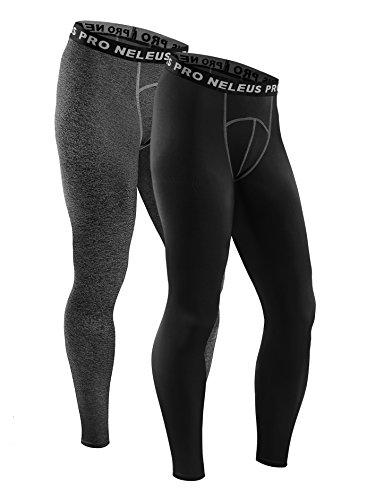 Neleus Men's 2 Pack Active Base Layers Compression Pants,6026,Grey,Black,XL,EUR 2XL (Athletic Active Mens Pants)