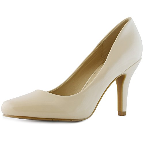 DailyShoes Women's Classic Fashion Round Toe Lily-01 High Heel Dress Pump Shoes, Nude PT, 8.5 B(M) - Round Women Nude