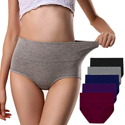 (Annyison Women Panties 5 Pack, Soft Cotton Tummy Control Mid Waist Breathable Solid Color Briefs Panties for Women (5 Pack in 5 Drak Colors, XXL))