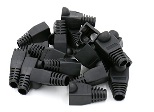 iexcell 100 Pcs Black RJ45 Ethernet Network Cable Strain Relief Boots