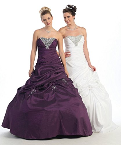 Women Strapless Floor Length Beaded Dramatic Ball Gown Special Occasion Dress Plum M