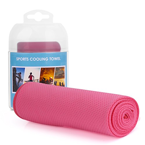 MoKo Sports Instant Cooling Towel, Super Absorbent Snap Quick Dry Golf Yoga Travel Towel, Cooling for Running, Biking, Hiking, Climbing, Basketball, Football, Tennis and Other Sports – PINK