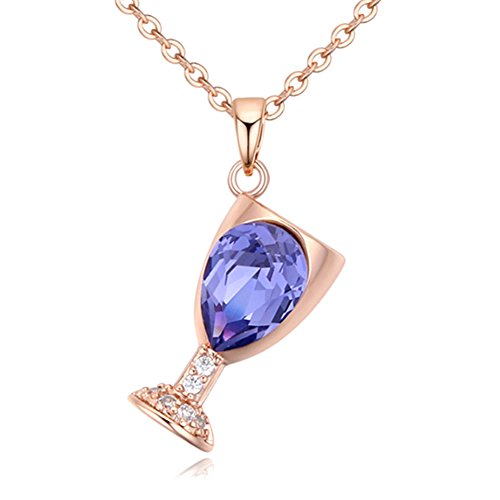 Austrian Crystal Wine Glass Pendant Necklace (Rose Gold+Tanzanite)