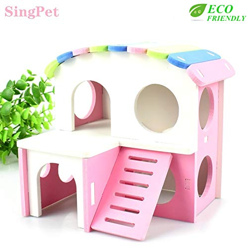 Hamster Hideout, Dwarf Hamster House Exercise Play Toys Ecological Two-Storey Wooden Hut Safe Non-Toxic Hamster Cage Accessories for Hamsters, Hedgehog, Mice , Sugar Gliders, Small Animals, Dwarf Pets