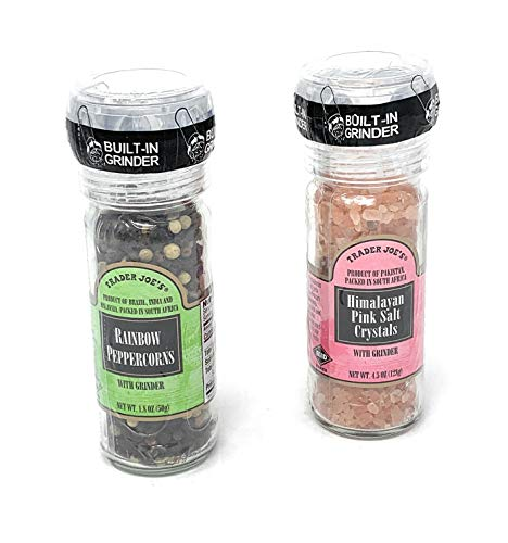 (Trader Joe's Gourmet Set with Grinder Tops: Rainbow Peppercorns/Pink Himalayan Salt Crystals)