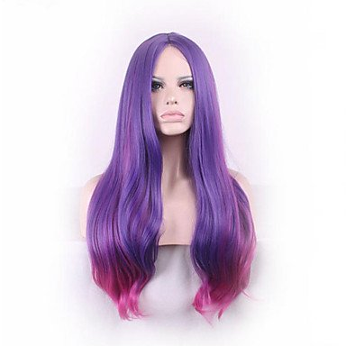 2017 Trendy Sexy Long Slightly Curly Purple Red Ombre Cosplay Central Parting Women Wigs Girl Gift - Ellen Funny Kid Costumes