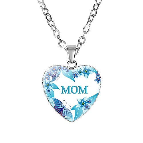 Morenitor Heart Necklace, Silver Plated Glass Love Pendant Engraving with MOM Letter Necklace Mother's Day Jewellery Gifts for Women Wife Mom (Blue Flower)