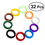 YeahiBaby 32PCS Silicone Key Caps Elastic Key Tags Key Identifier Coding Rings (Mixed Color)