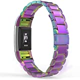MoKo Fitbit Charge 2 Band, MoKo Universal Stainless Steel Watch Band Strap Band Bracelet + Connector for 2016 Fitbit Charge 2 Heart Rate + Fitness Wristband (Smart Watch NOT Included), Colorful