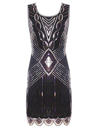 Vijiv Women's 1920s Drop Waist Beaded Cocktail Flapper Midi Dress Great Gatsby