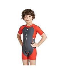 Gogokids Boys Girls One Piece Swimsuit - Kids Short Sleeves Swimwear UPF 50+