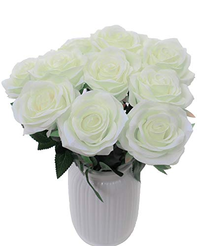 - LUSHIDI Artificial Flower Rose Silk Bouquet for Baby Shower Party Home Wedding Decoration,Pack of 10 (Off White)