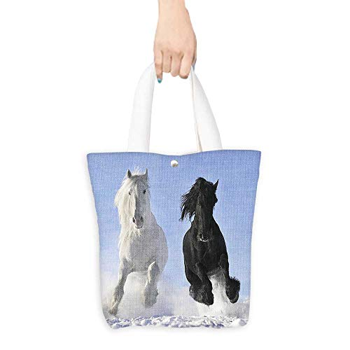 Tote Shopping Handbags Competing Racing Black and White Horses on the Snow Good and Evil Good permeability W11 x H11 x D3 INCH -