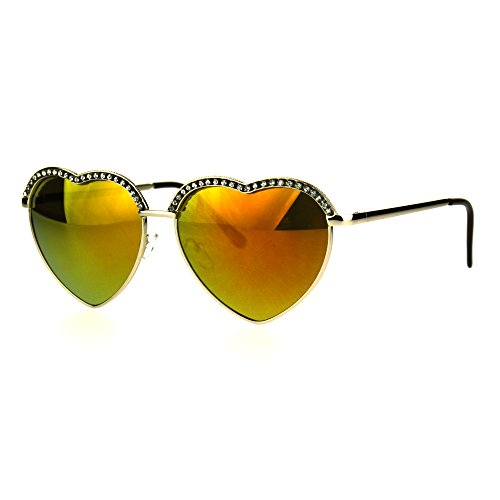 SA106 Rhinestone Studded Half Rim Style Heart Shape Metal Rim Sunglasses Gold - Rs Sunglasses