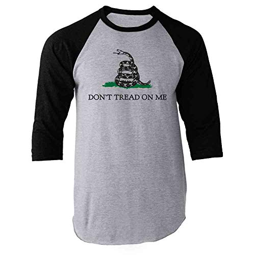 Sleeve Flag Shirt - Don't Tread On Me Gadsden Flag Rattlesnake USA Revolution Black 2XL Raglan Baseball Tee Shirt
