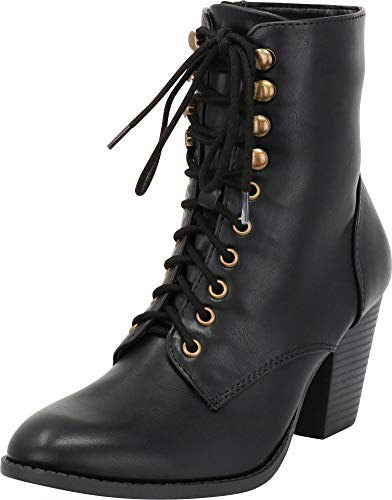 - Cambridge Select Women's Closed Toe Victorian Steampunk Lace-up Chunky Stacked Heel Ankle Bootie,7.5 B(M) US,Black PU