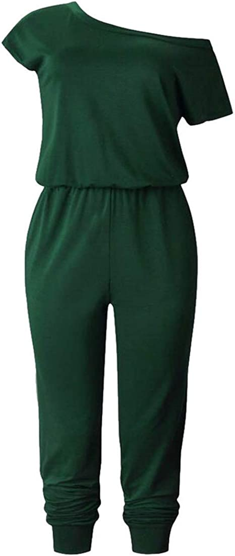 Wofupowga Womens Classic One Shoulder Stretch Pocket Blouse Pocket Pleated Pencil Playsuit Jumpsuits