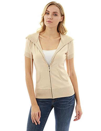 PattyBoutik Women Hoodie Zip Up Short Sleeve Jacket (Beige X-Large)