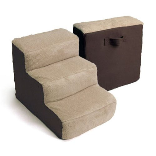 Dallas Manufacturing Co. 3 Step Home Décor Pet Steps, Brown & Tan (Pet Stairs)