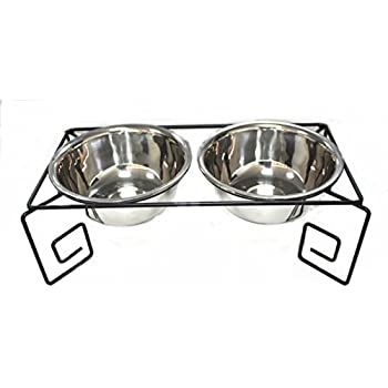 Pet Feeder for Big Dog, Stainless Steel Food and Water Bowls with Iron Stand