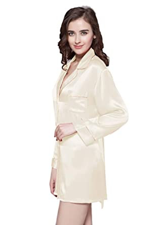 LilySilk Silk Nightshirt for Women Long Sleeve Sleep Shirt Pure Mulberry  Silk Sexy Short Ladies Nightgowns d8fba1710