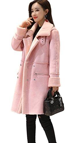 (Shineflow Women's Lapel Faux Fur Fleece Lined Parka Warm Winter Shearling Coat Leather Jacket (M, Pink))