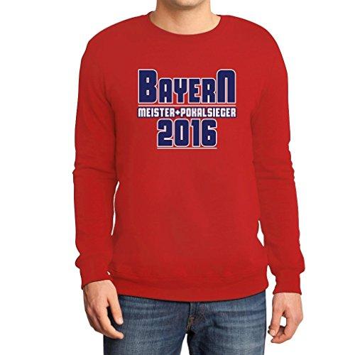 Bayern Meister und Pokalsieger 2016 Fanshirt Sweatshirt Large Rot