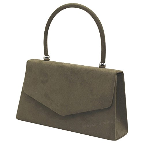 Bag Handbag Women Envelope Suede 1 Prom Khaki Party Evening Shoulder Handbag Purse Wedding Crossbody Clutch Wocharm Bridal Ladies Bag qTfxW00