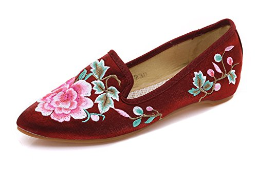 Avacostume Femmes Chinois Style Imitation Ox-tendon Semelle Broderie Chaussures Vin Rouge