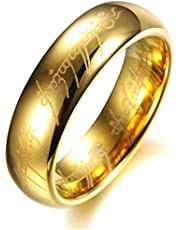6mm Unisex Engraved Ring Gold Plated, LORD OF THE RING