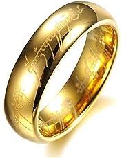 خاتم منقوش للجنسين 6 ملم مطلي بالذهب، LORD OF THE RING