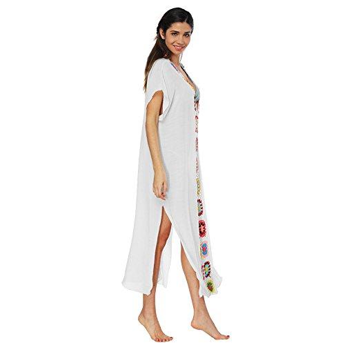 Da Abito Scollo A Lungo Kimono Bohemian Bianco Shift Vestito Straight Spiaggia Copricostume Bagno Corte Boxy Long Maxi Dritto Maniche Profondo Fiori V XiZuOkP