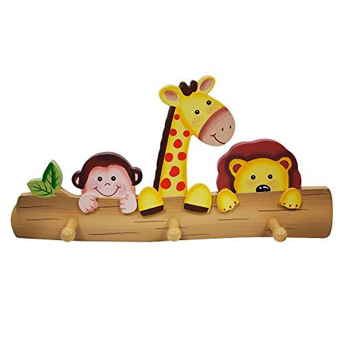 Fantasy Fields Sunny Safari Animals Thematic Kids Wooden Wall Hooks | Imagination Inspiring Hand Painted Details | Non-Toxic, Lead Free Water-based Paint by Fantasy Fields
