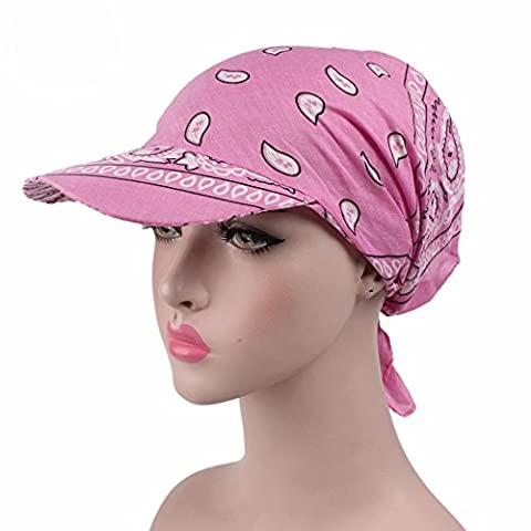 6 Colors Womens Chemo Cancer Head Scarf Hat Summer Folding Anti-UV Golf Tennis Sun Visor Cap (Pink) - Cotton Tennis Hat