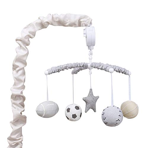 Chambray Crib - Grey Sports League Digital Musical Crib Mobile by The Peanutshell