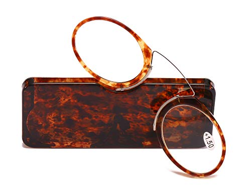 SOOLALA Women Men Go Everywhere SOS Pince Nez Style Nose Resting Pinching Portable Wallet Reading Glasses, Leopard, 2.5x (For Glasses Small Noses)