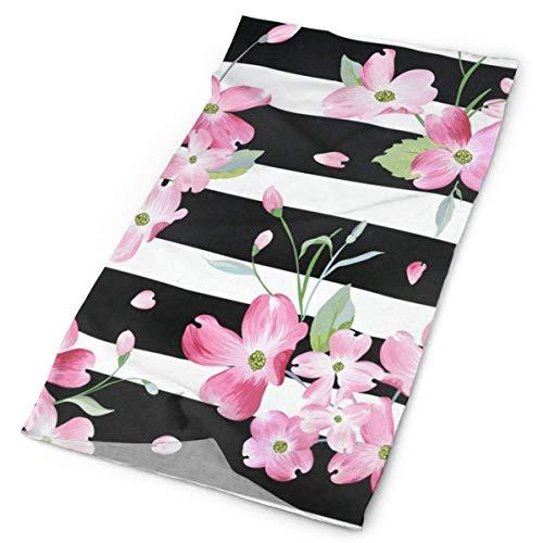 (Spring Summer Floral Flowers Striped Headband Womens Bandana Mens Balaclava Neck Warmer)