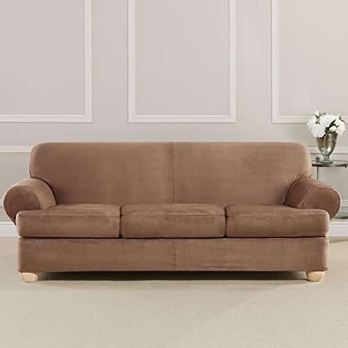 Sure Fit Ultimate Heavyweight Stretch Suede Slipcover (Luggage, 3 Piece T-Cushion Sofa)