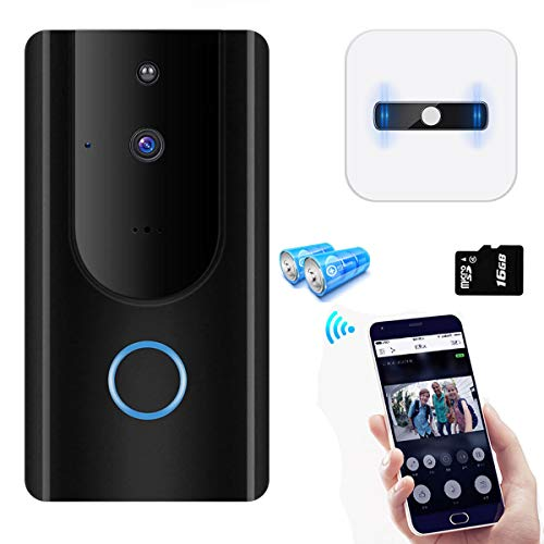 (Video Doorbell,Visual Doorbell Camera 720P HD Wifi Security Camera with 16G TF Card, Chime and Battery,Real-Time Two-Way Talk, Night Vision,PIR Motion Detection,App Compatible for iPhone and Android)