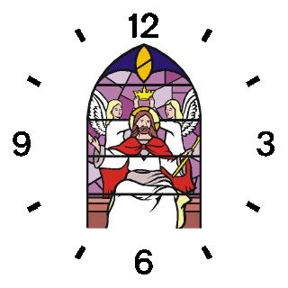 Jesus Christ the King being Crowned (Stained Glass) Christian Theme - WATCHBUDDY DELUXE TWO-TONE THEME WATCH - Arabic Numbers - Green Leather Strap-Children's Size-Small ( Boy's Size & Girl's Size )
