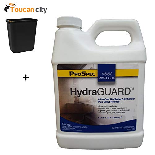 Toucan City 7 Gal Trash can and AquaTight 32 oz. HydraGUARD Grout Concrete Paver Cement and Tile All-in-One Stain Efflorescence and Waterproofer ATHG QT 65510332